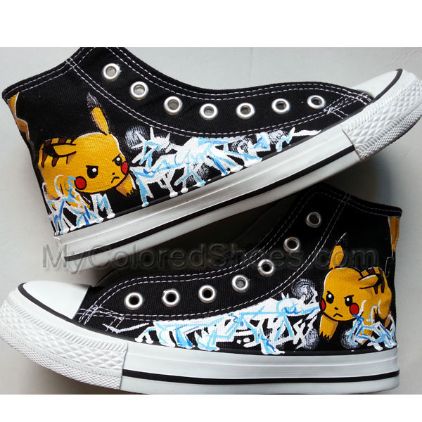 e456cda98117 Pokemon Pikachu Anime Shoes Pokemon Anime Pikachu Shoes Black Canvas  Sneaker Black Paints Custom Painted Shoes ...