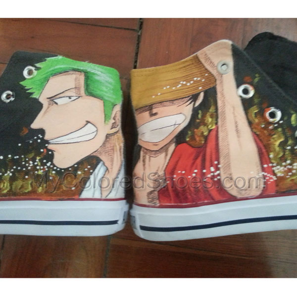 3c0cd8b138 One Piece Anime Fashion Canvas Shoes for Men Women Hand Painted ...