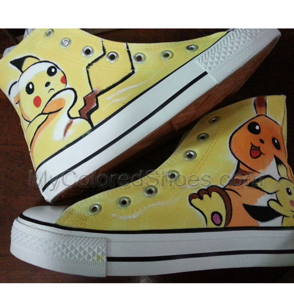 6b7f93082056 Pikachu Shoes Anime Customizable Canvas Sneaker Hand Painted with  Waterproof Yellow Paints Custom Painted Shoes for