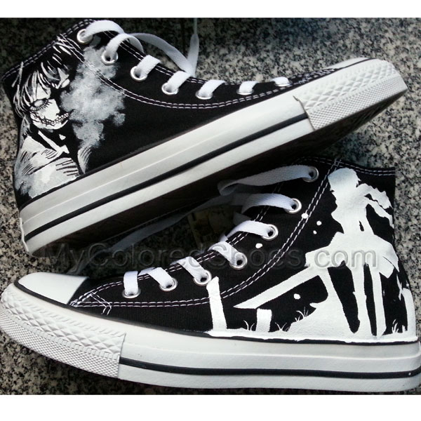 5a90cc3c6ad7 Attack on Titan Shoes Mens Black Attack on Titan Anime Shoes-Hand Paint  Sneakers