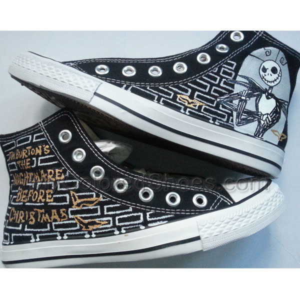 f51fa223 Custom Painted Hi Top Canvas Nightmare before Christmas Shoes Hand painted  Nightmare Before Christmas Shoes