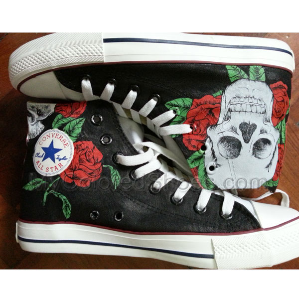 a130fb59b3ee Skull Red Rose Design Shoes Hand Painted Shoes Painted Custom Sh ...
