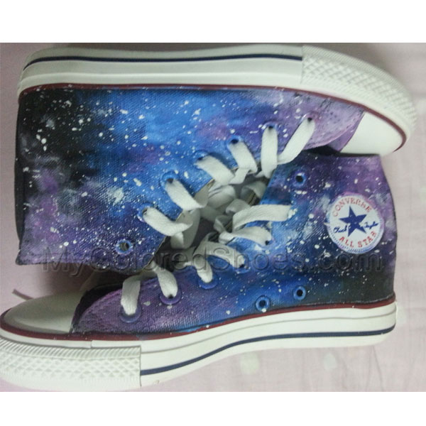 fd0d2dccc3d0bf Galaxy Shoes Sneakers Hand Painted Shoes High Top Galaxy Shoes  0701 ...