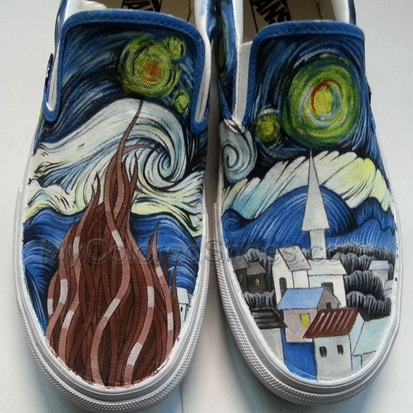 Starry Night Shoes Custom The Starry Night by Vincent Van Gogh Hand Painted  The Starry Night 96fee0d73